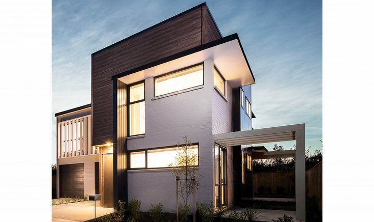 Dark and durable timber cladding – the combination of brick with Vulcan+ is looking lovely on these new Hobsonville Point townhouses  #mikegreerhomes #hobsonvillepoint #abodowood