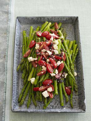 Asparagus with Tomato-Olive Garnish