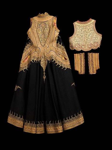 Wedding ensemble Date: 1890–1910 Culture: Albanian Medium: wool, cotton, silk, metal Dimensions: Length at CB (a): 45 1/2 in. (115.6 cm) Length at CB (b): 12 in. (30.5 cm) Other (c, d): 10 in. (25.4 cm) Other (e): 12 in. (30.5 cm) Credit Line: Brooklyn Museum Costume Collection at The Metropolitan Museum of Art, Gift of the Brooklyn Museum, 2009; Gift of Mrs. John Hart Brown, 1960 Accession Number: 2009.300.841a–e