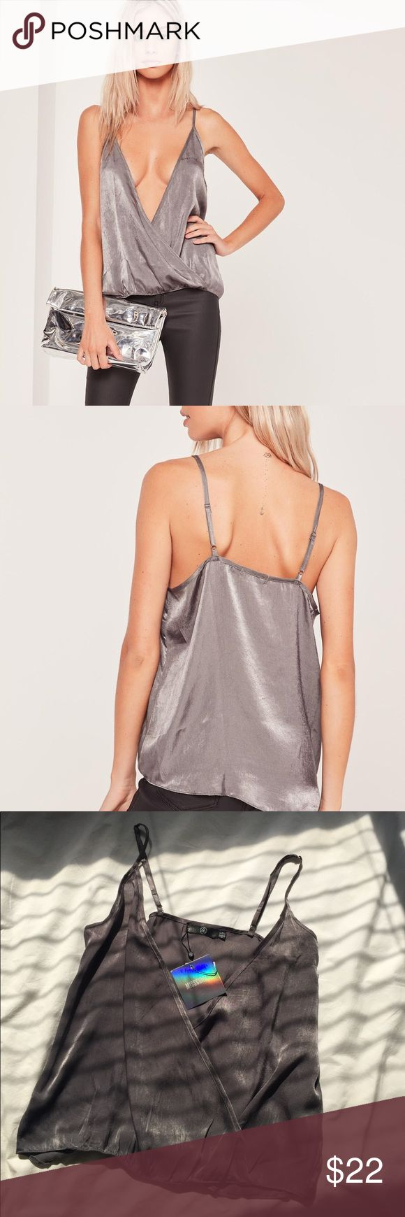 Satin Wrap Over Cami Misguided satin Top in grey. Brand new with tags. Never worn. US 4 is a size Small. Missguided Tops Tank Tops