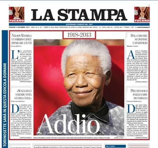 La Stampa - Venti copertine da tutto il mondo #Mandela
