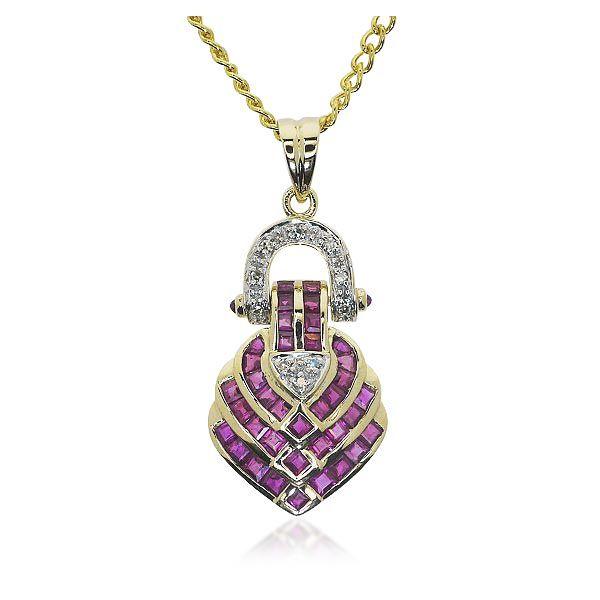 Rubin-Diamantanhänger in Gelbgold mit 10 Diamanten und 36 Rubine Großes Funkeln mit  10 Diamanten und Rubinen Wie zu einer wunderschönen Knoten geformt ist dieser Anhänger gefertig. 36 Rubine mit 1,5 ct. Bilden den Blickfang dieses außergewöhnlichen Stückes. Mittig finden sich in angedeuteter Herzform drei kleine Diamanten. Ein mit sieben Diamanten besetzter Bügel bildet das bewegliche Bindeglied zwischen dem eigentlichen Schmuckstück und der Schlaufe. #schmuck #rubin #anhänger #geschenk