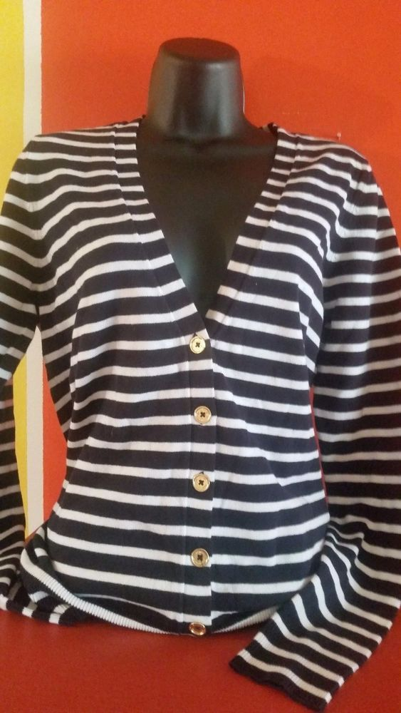 Women's Michael Kors Navy and White button down Cardigans , 4 sizes avail. #MichaelKors #ButtonDownCardiganSweater