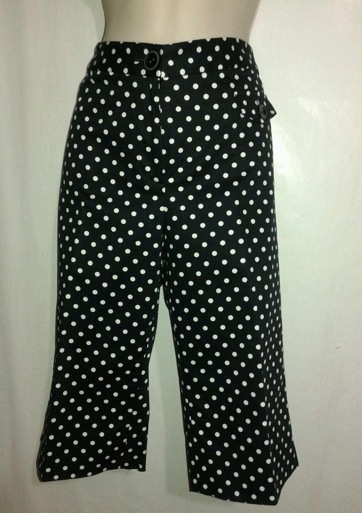 OSCAR de Larenta Capris Sz 6 Black White Polka Dot Cotton Blend NEW #OSCARbyOscardelaRenta #CaprisCropped