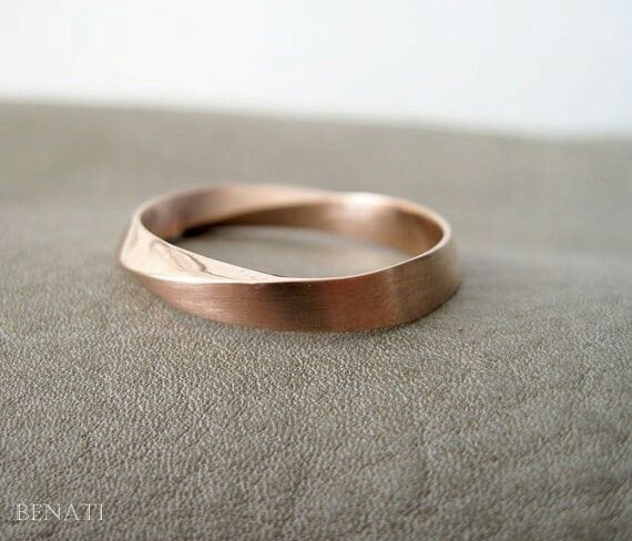Rose Gold half Matte Finish Ring, Wedding Ring, 18k Rose Gold Ring, Mobius Wedding Band, Wide Mobius Wedding Band, Gold Mobius Wedding Band