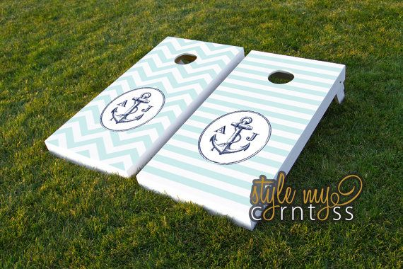 Custom Corntoss / Classy Cornhole / Bag Toss / Wedding Game -- (( Anchors Away - Nautical theme --Chevron or Stripes ))  Tower Lakes baby!