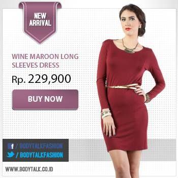 Tampil elegan saat hari Natal dengan Wine Maroon Long Sleeves Dress. Click: www.bodytalk.co.id to shop!