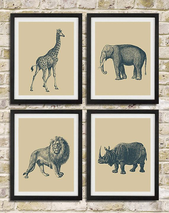 Safari Nursery Wall Art Prints - Elephant Giraffe Lion Rhinoceros African Animals - Children Room Home Decor set of 4 8x10. $38.00, via Etsy.