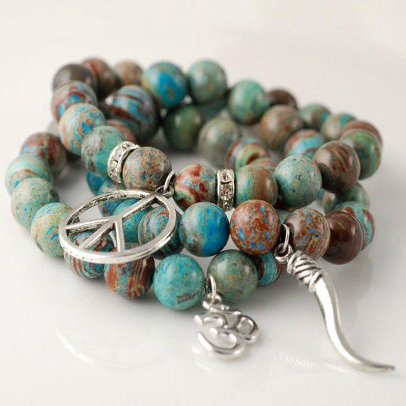 Stretch Bracelet Peace Hamsa Charm By Annierehdesigns 95 00