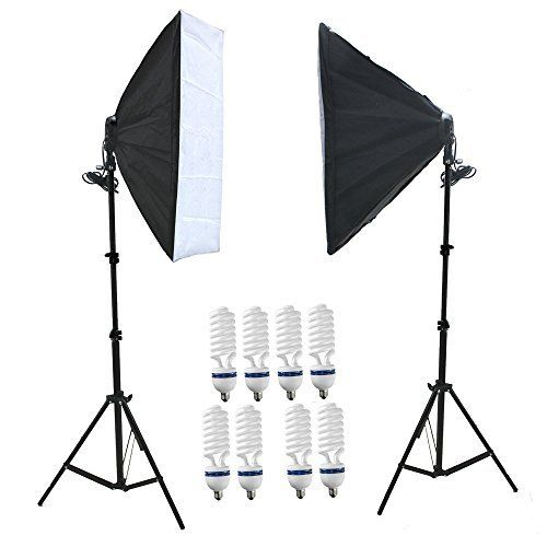Amzdeal kit Attrezzatura Fotografica 2 x softbox 50 x 70cm con lampade 8 x 135W e 2 x Supporto Per la fotografia Kit Set da Studio Professionale normative europee