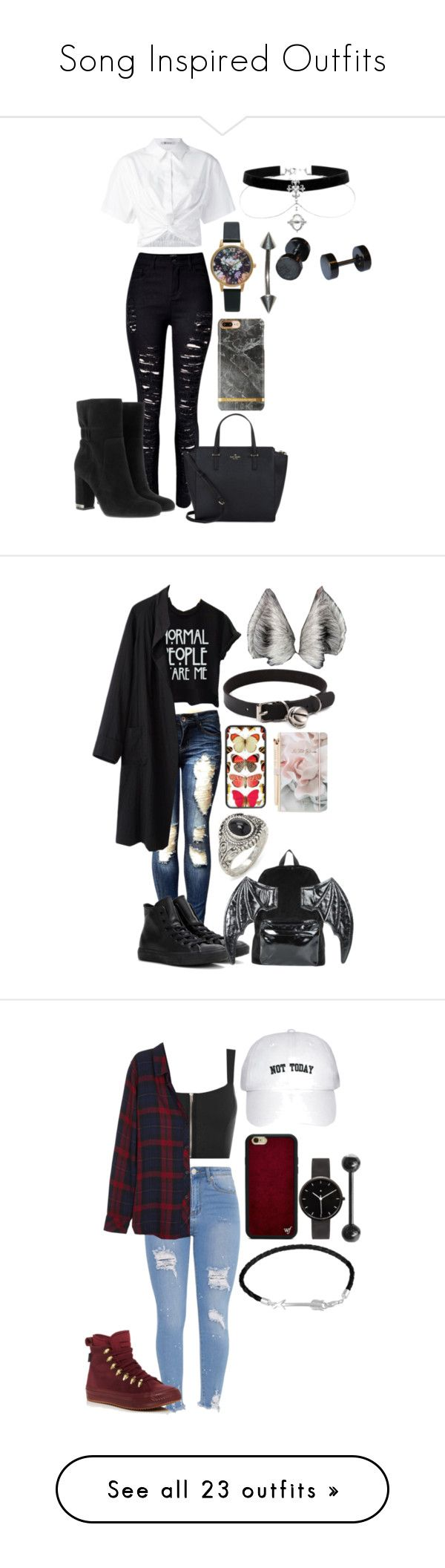 """Song Inspired Outfits"" by lazerpup104 on Polyvore featuring WithChic, T By Alexander Wang, MICHAEL Michael Kors, Olivia Burton, Kate Spade, Converse, La Garçonne Moderne, Iron Fist, Ted Baker and Forever 21"