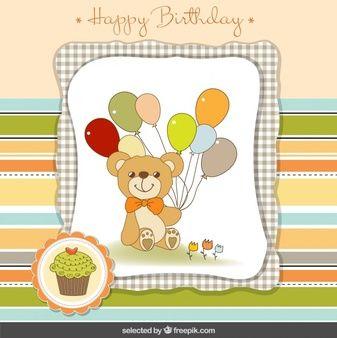 Urso de peluche com cartão de balões de aniversário
