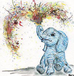 cute baby elephant #Splatter Art