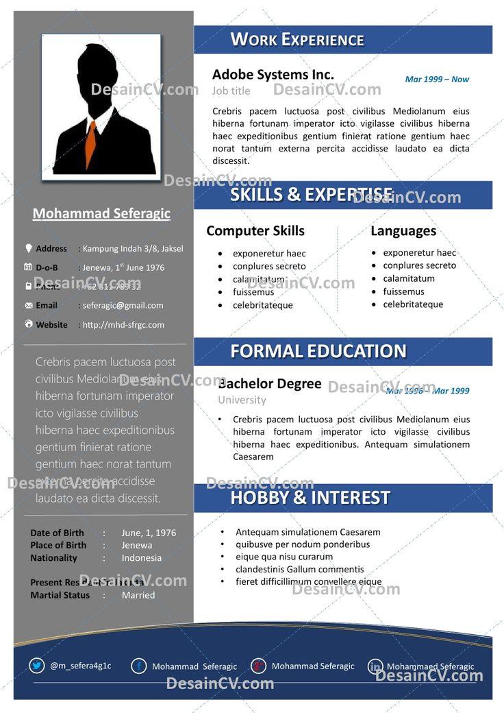 Professional Contoh Curriculum Vitae Resume Template Cv Kreatif Templat Resume Resume Profesional