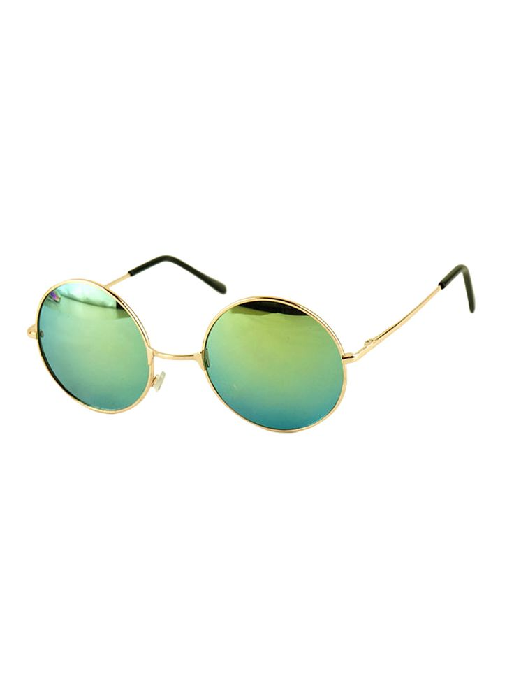 Green Round Lens Sunglasses With Metal Frame Choies