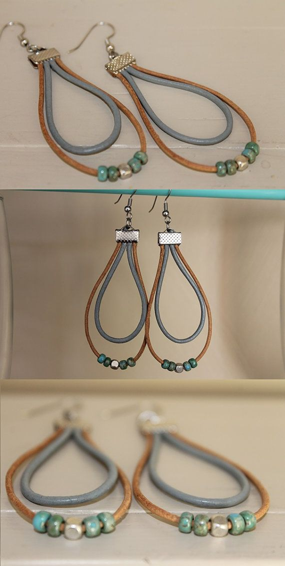 Long leather earrings blue / brown, picasso beads