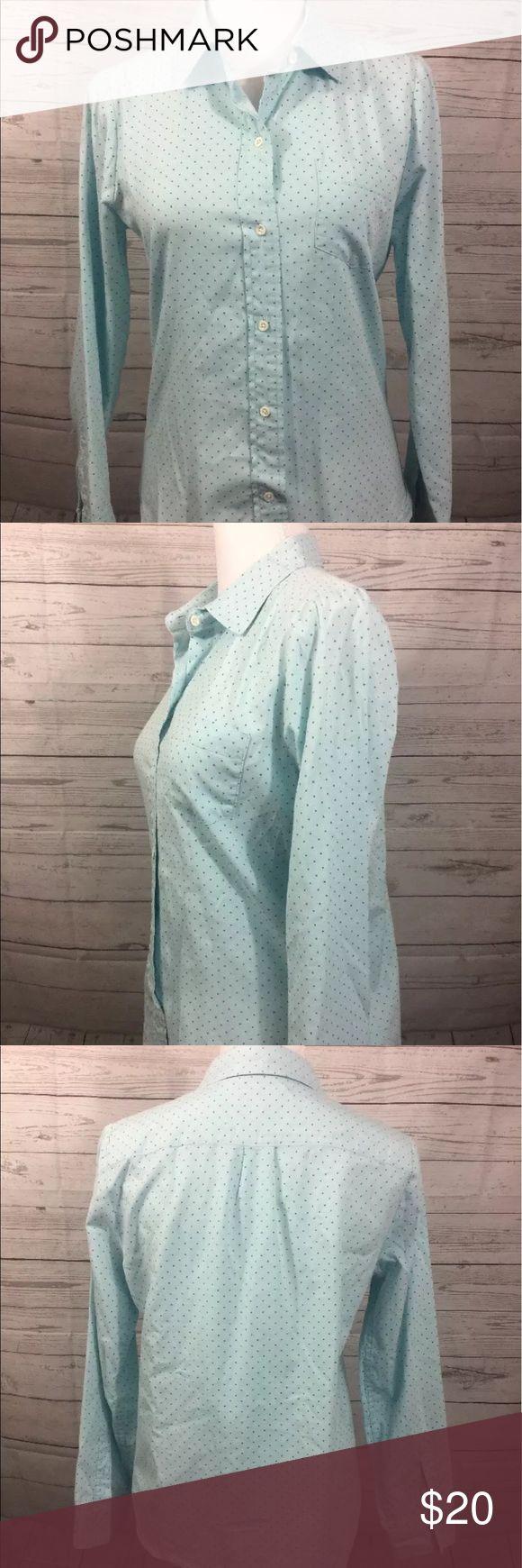 "J.Crew Shrunken Shirt in Dot Oxford J.Crew Shrunken Shirt in Dot Oxford Womens 6  Color: Green and Blue Pattern: Polka Dot   100% Cotton   Measurements Approximate: Shoulder to Shoulder - 14.5"" Armpit to Armpit - 19.5"" Sleeve Length -22.5"" Shirt Length - 24"" J. Crew Tops Button Down Shirts"