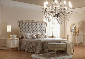 Artemisia 4000 Bett, Klassischen Stil Bett, mit handgefertigten Schnitzereien, gepolsterte Kopfteil getuftete