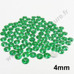 Sequin thermocollant rond - VERT SAPIN HOLOGRAMME - 4mm - x 150