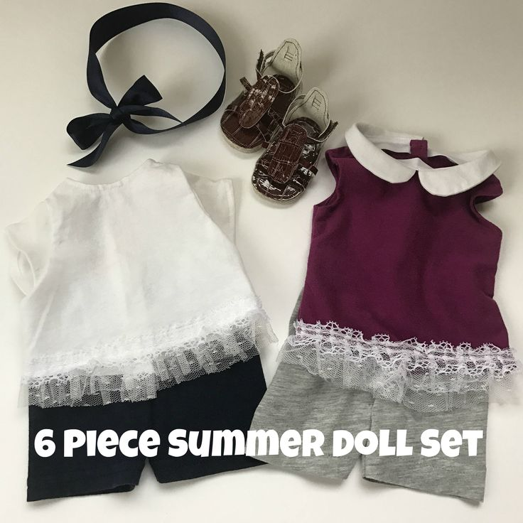 """6 Piece Summer Doll Set - Fits an 18"""" American Girl Sized Doll by xoxoGrandma on Etsy"""