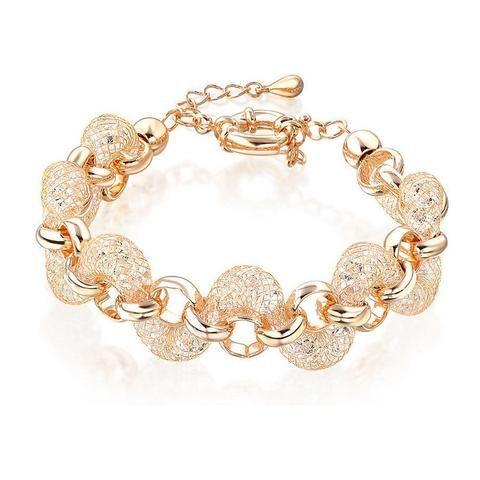 Teigan Crystal Filled Mesh Gold Bracelet