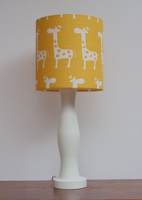 Small Giraffe Drum Lamp Shade - Yellow with White Giraffes Design - Nursery or Baby Lamp Shade on Etsy, $30.00