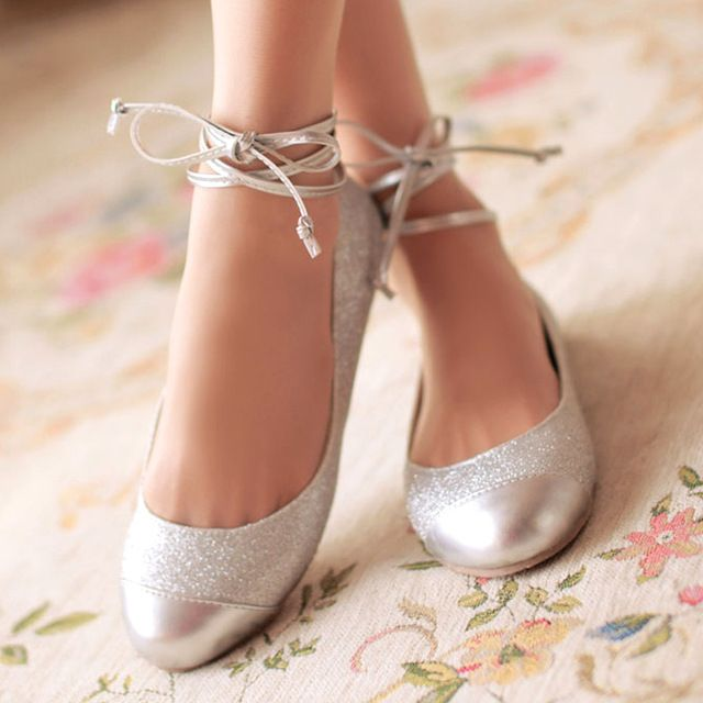 2015 fashion round toe slip on cross ankle straps metal cap toe silver glitter flat heel leather ballet flats shoes for women