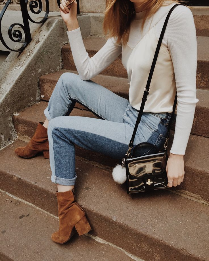 Outfit today / Nasty Gal jeans, Free People boots, Zara bag (Pom Pom not real), Brandy Melville white top + vintage silk piece ⭐️
