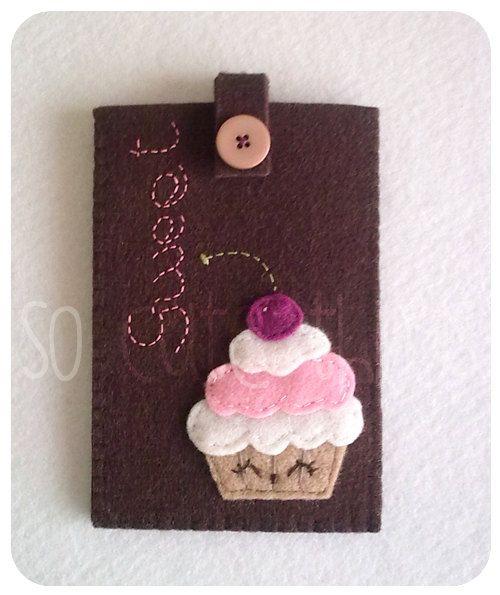 Sweet Cupcake felt phone case