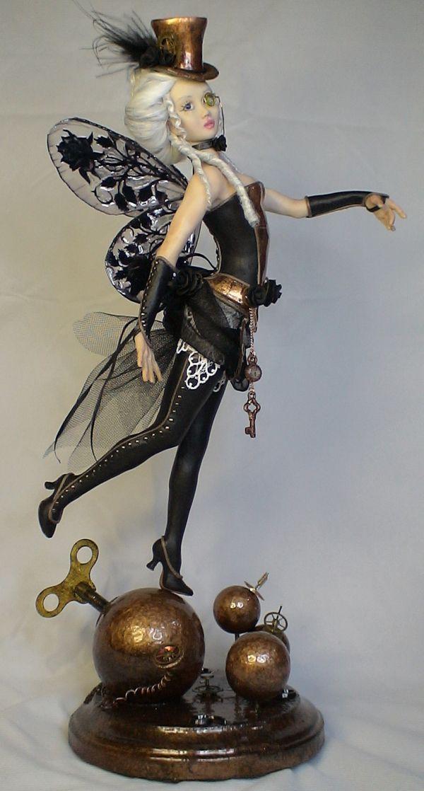 ooak art doll, Black Rose, Steampunk Fairy, sculpture by Barbara Kee