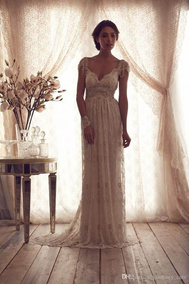 ... Anna Campbell Lace Wedding Gowns Sexy Beaded Boho Wedding Dress