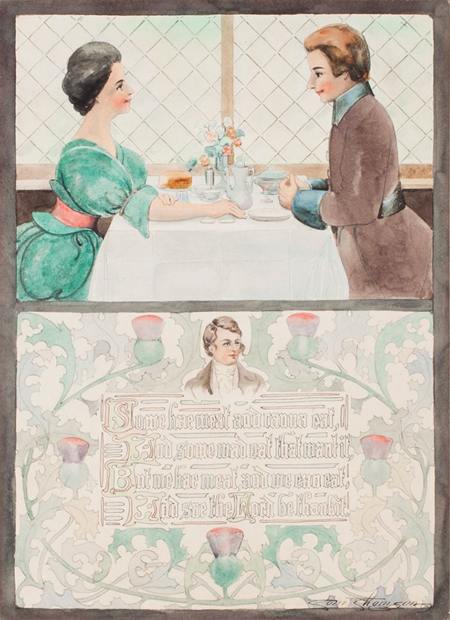 "During his commercial artist years, Thomson absorbed important lessons about colour, composition, simplicity, and appeal. ""Decorative Illustration: A Blessing by Robert Burns,"" 1909, McMichael Canadian Art Collection."