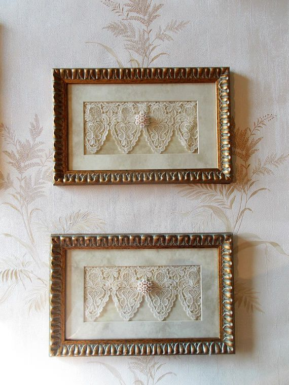Shabby Chic Framed Lace Shabby Chic Decor Framed Lace Art Shabby Chic Wall Art Shabby Chic Frames Lace Art