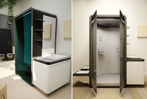 AQUABOX: cuarto de baño compacto que recicla agua