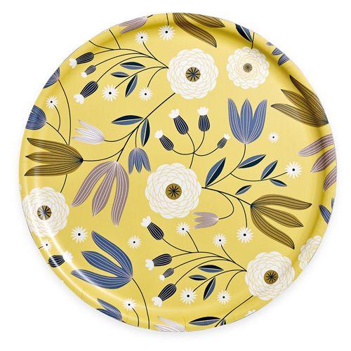 Plateau rond en bouleau motif tulipes jaunes 35cm Mini Labo