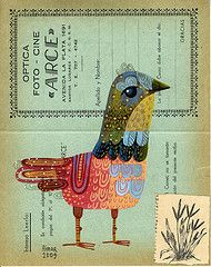 illustration, animal, bird, pattern, design, naive. bird/book pages collage