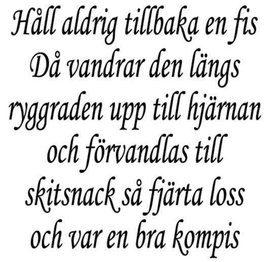 Vägg-/Kakeldekor Håll aldrig tillbaka en fis Då vandrar den… 145x145mm SVAR