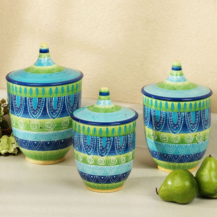 Tapas Handpainted Kitchen Canister Set