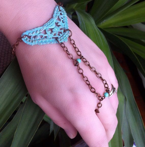 Filigree wrist to ring bracelet. Beautiful aqua patina. Mixed metals, brass with patina and copper chain on Etsy, $36.76