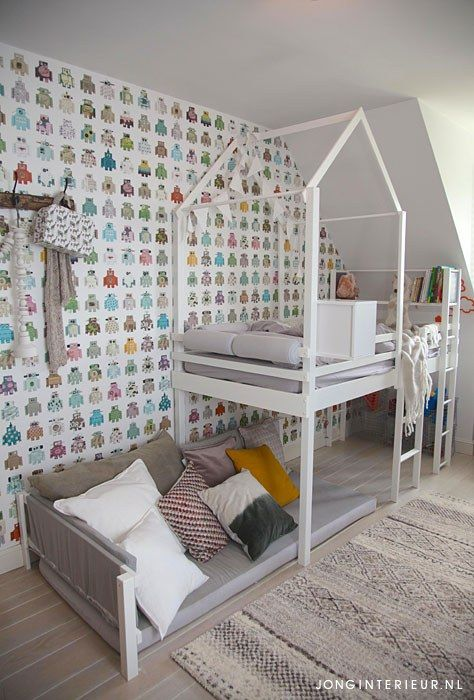 Jongenskamer Robot Boysroom boucherouite, Ditte, huisje hoogslaper. Ontwerp en styling jonginterieur.nl