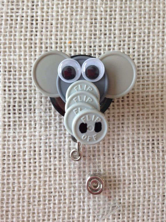 44 best medicine cap crafts images on pinterest badge reel badge vial top badge holders elephant id badge holder made from sterile iv vial tops solutioingenieria Gallery