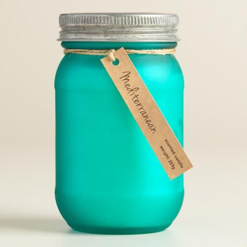 One of my favorite discoveries at WorldMarket.com: Turquoise Frosted Mason Mediterranean Candle