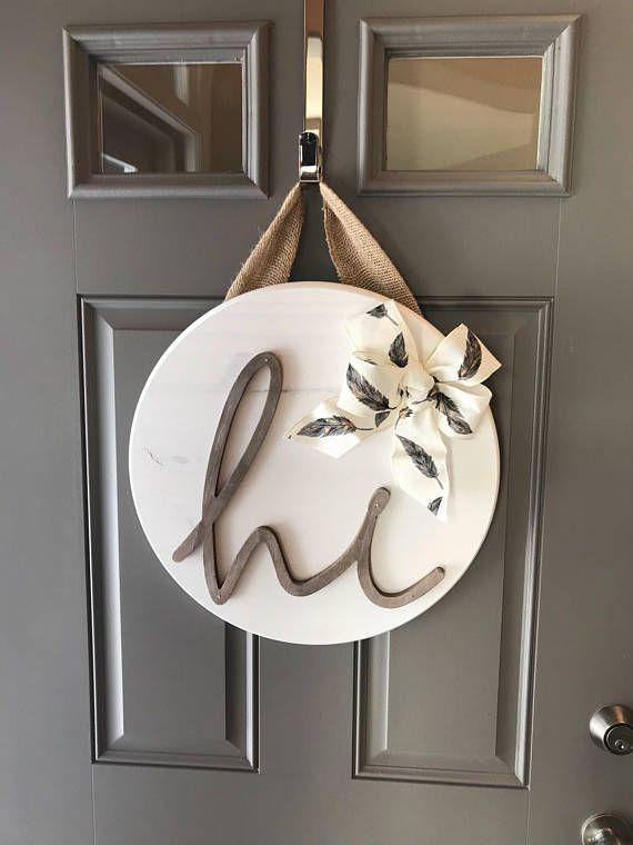 White Front Door Hanger, Door Hanging Decor, Sign For Front Door, Wood Door Decor, Round Wood Sign, Front Door Wreaths Year Round, New Home #DIYHomeDecorSigns