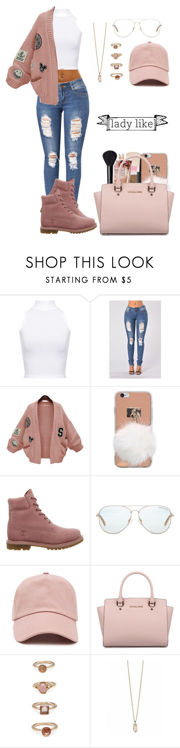 """Lady like"" by life957 ❤ liked on Polyvore featuring WearAll, WithChic, Timberland, Michael Kors, Forever 21 and Zoya"