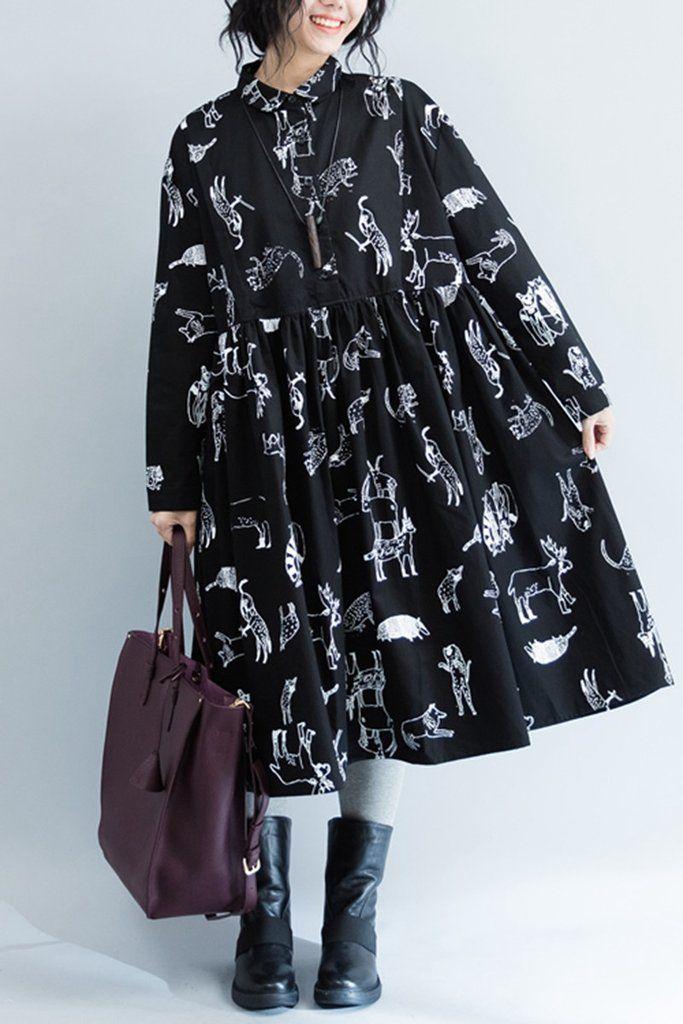 Black White Printing Long Sleeve Cotton Dresses Oversize Q2802