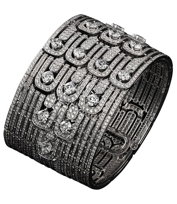 Cartier  High Jewelry bracelet Platinum, cushion-shaped diamonds, brilliants http://www.cartier.us/collections/jewelry/exceptional-creations/lodyssee-de-cartier-parcours-dun-style-12704/precious-lines-and-architectures-12704