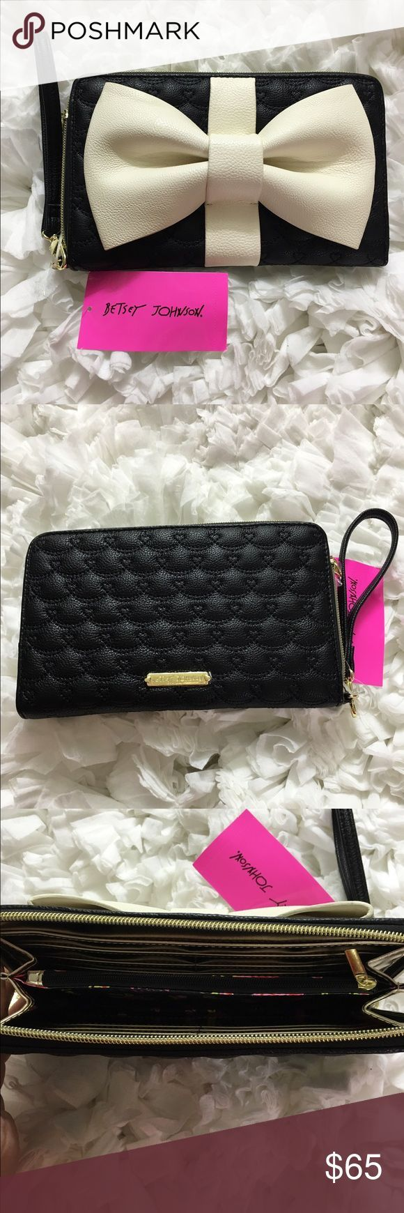 #Betsey #black #Cream #Johnson #Travel #Wallet