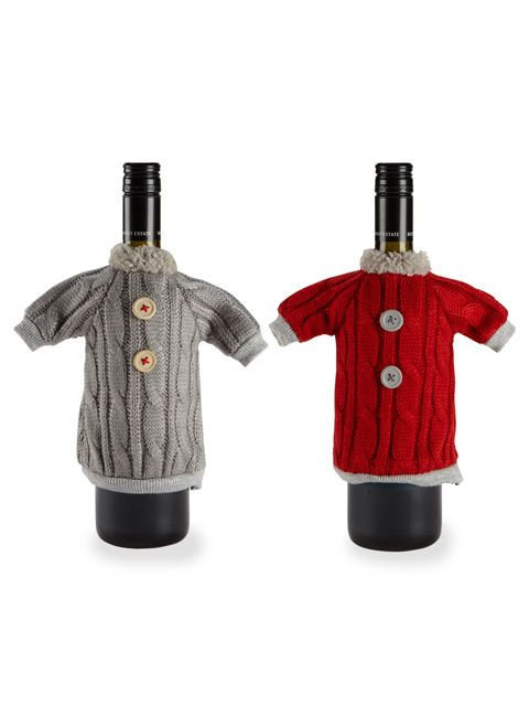 """American Chateau - Set of 2 Assorted pcs 8"""" Polyester Sweater Wine Bottle Decorative Cover Sleeve ZZ13946, $27.99 (http://www.americanchateau.com/Set-of-2-Assorted-pcs-8-Polyester-Sweater-Wine-Bottle-Decorative-Cover-Sleeve-ZZ13946/)"""