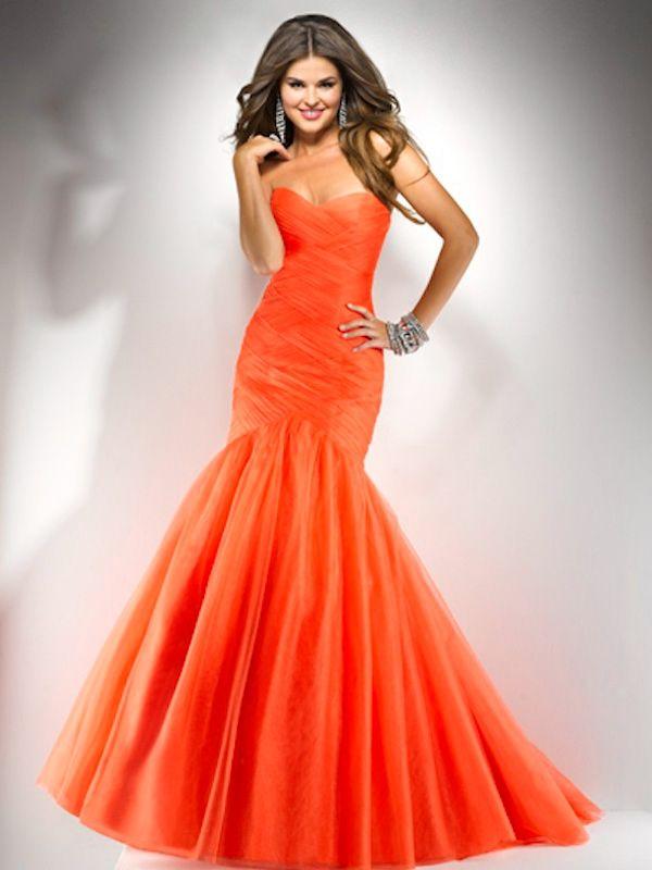 orange sweetheart top ball gown