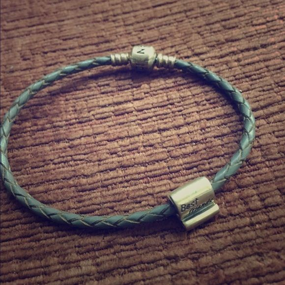 """Pandora rope bracelet with """"best friend"""" charm. Nwot, never worn. Pretty Pandora ❤️ Pandora Jewelry Bracelets"""